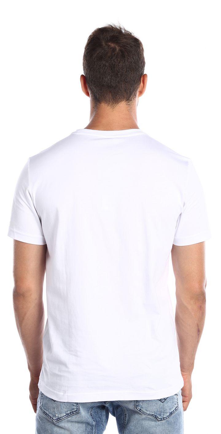 טי שירט כותנה קצר לוגו גדול בחזה גברים