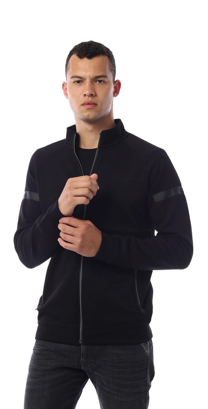 ג'קט רוכסן פס לוגו בשרוול גברים