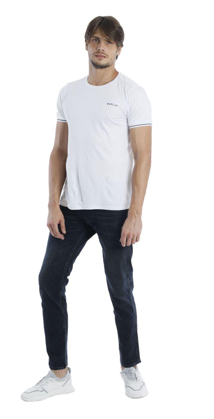 טי שירט לייקרה קצר לוגו קטן בחזה גברים