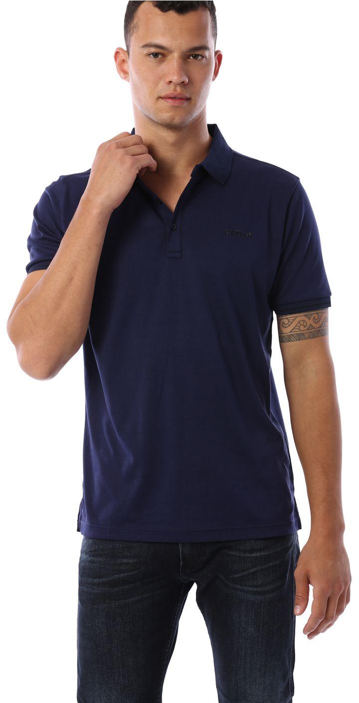 פולו פיקה קצר עם לוגו קטן ופס בשרוול בייסיק גברים