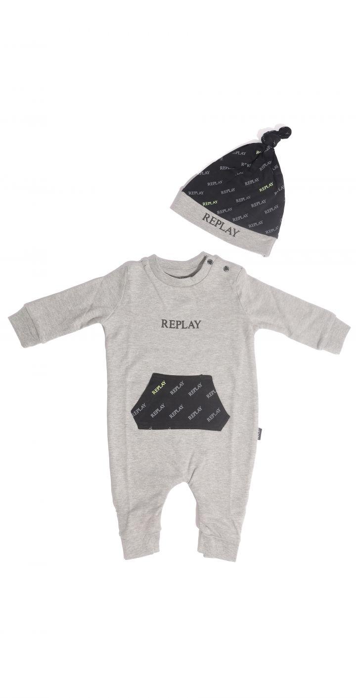 אוברול תינוקות כיס לוגו אולאובר עם כובע תואם ילדים