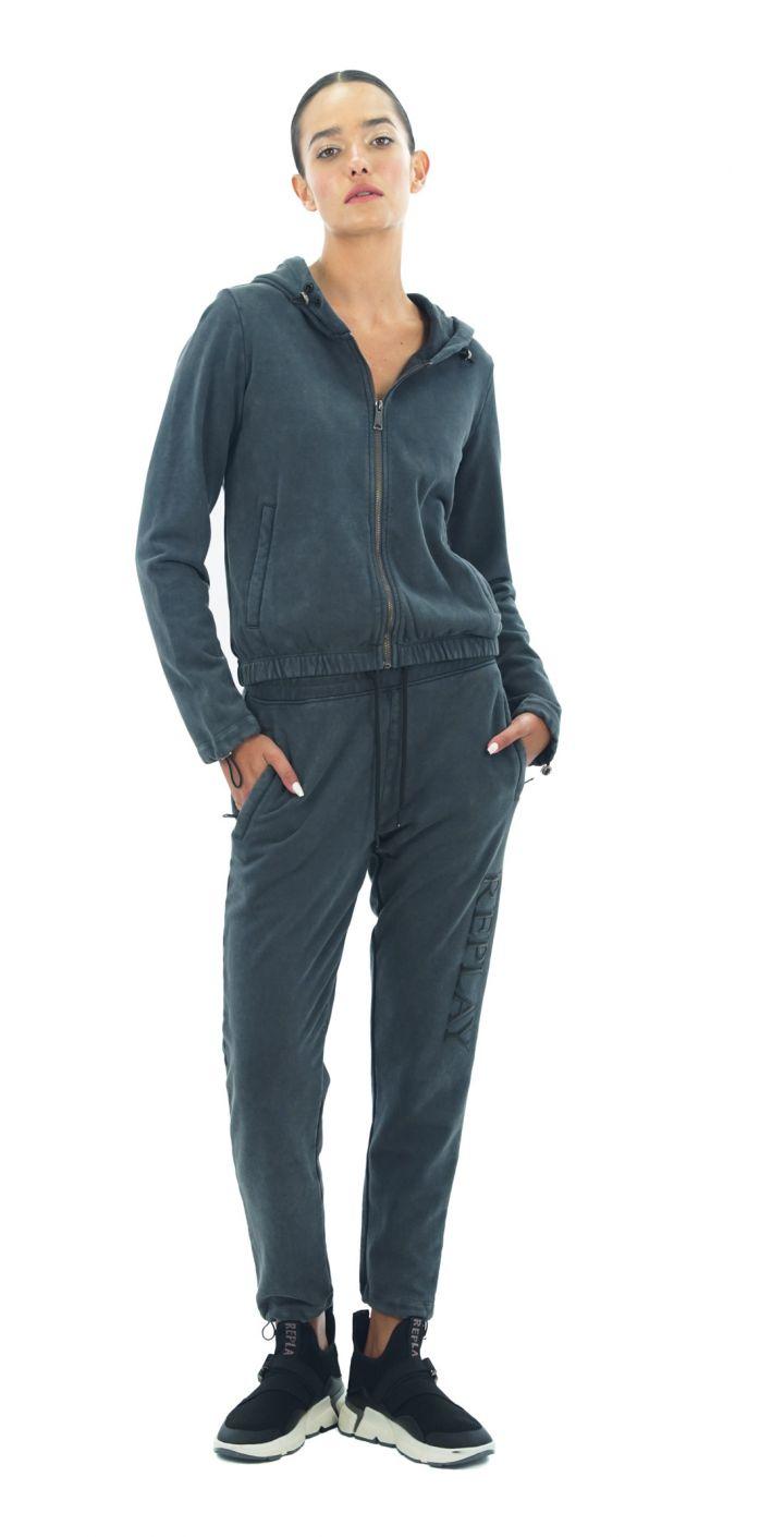 מכנסי טרנינג לוגו גדול רגל שמאל נשים
