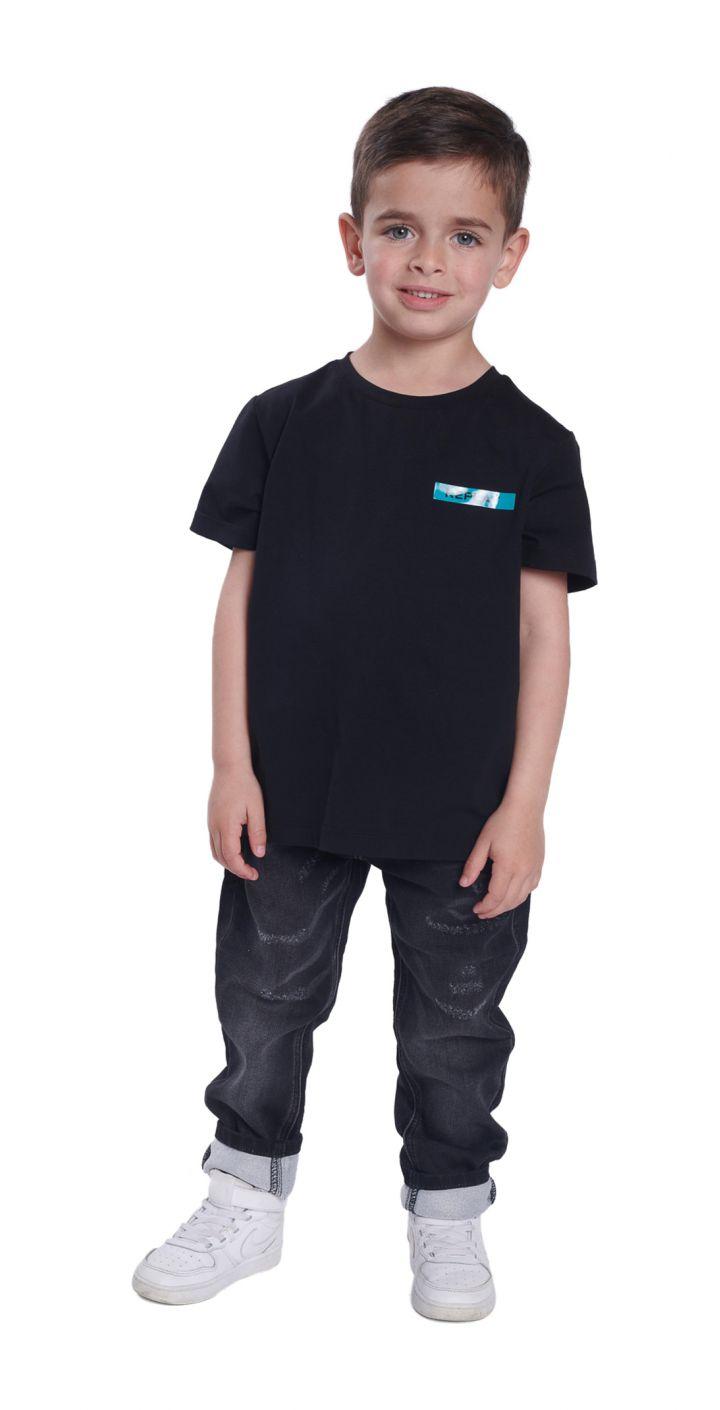 חולצה טי שירט קצר לייקרה לוגו קטן תינוקות