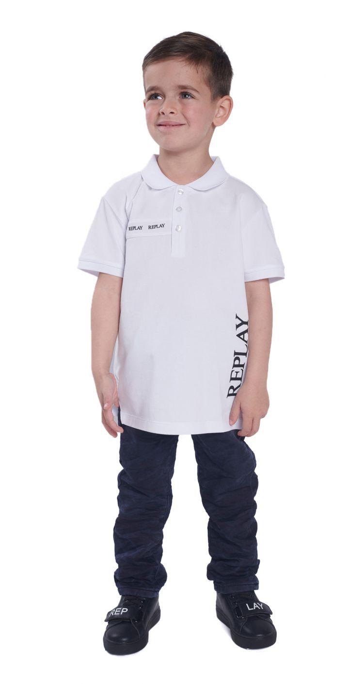 חולצה פולו פיקה לוגו גדול צד שמאל ילדים
