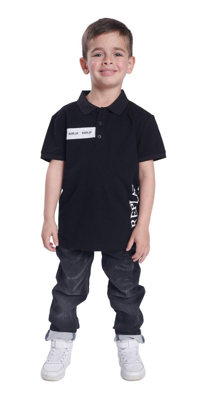חולצה פולו פיקרה לוגו גדול צד שמאל ילדים