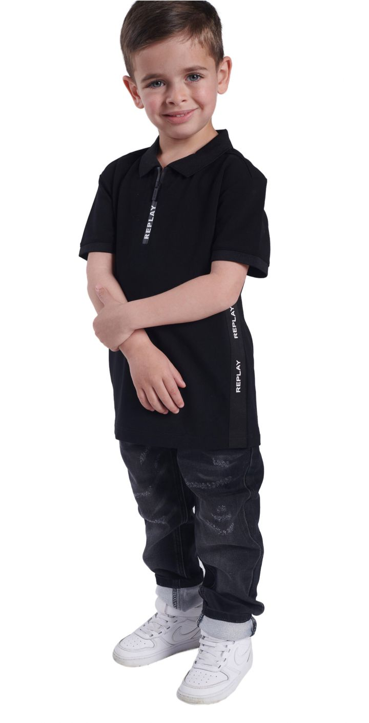 חולצה פולו פיקה לוגו בצדדים ילדים