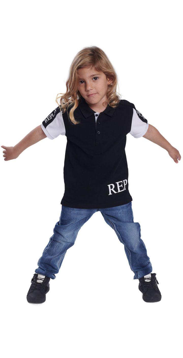 חולצה פולו פיקה לוגו צד שמאל ילדים