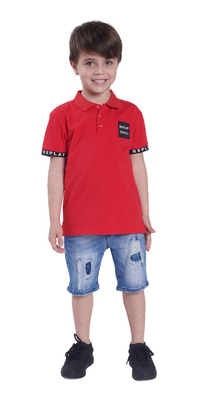חולצה פולו פיקה לוגו קטן צד שמאל ילדים