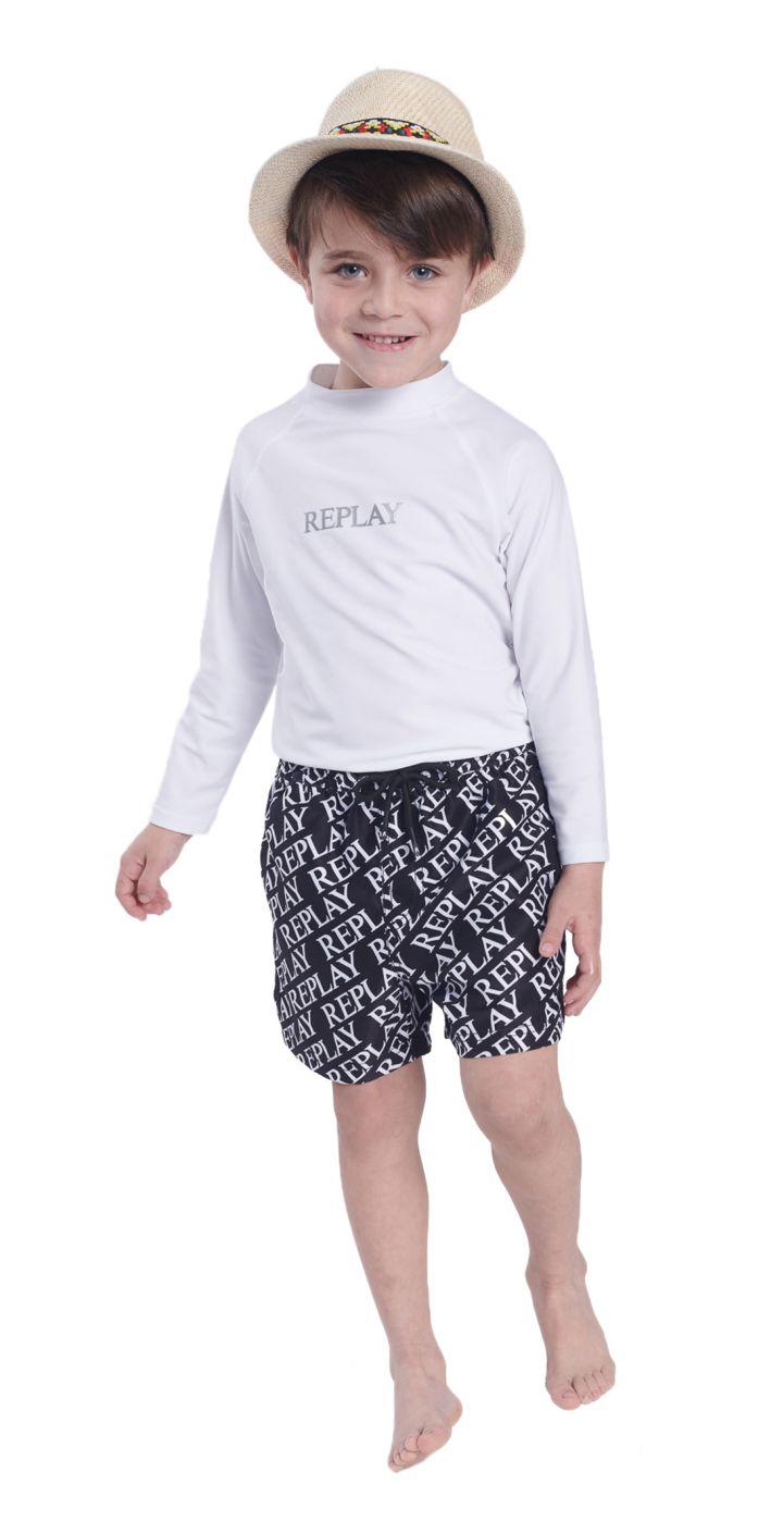 חולצה טי שירט ארוך אנטיסאן לוגו בחזה ילדים