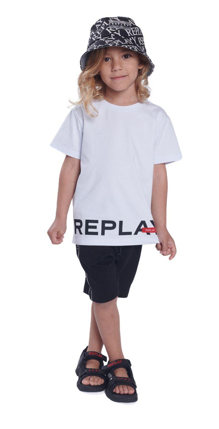 חולצה טי שירט קצר לייקרה לוגו גדול ילדים
