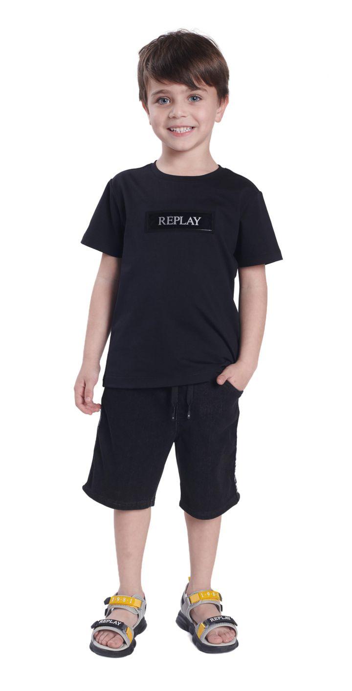 חולצה טי שירט קצר מרצרייז לוגו קטן בחזה ילדים