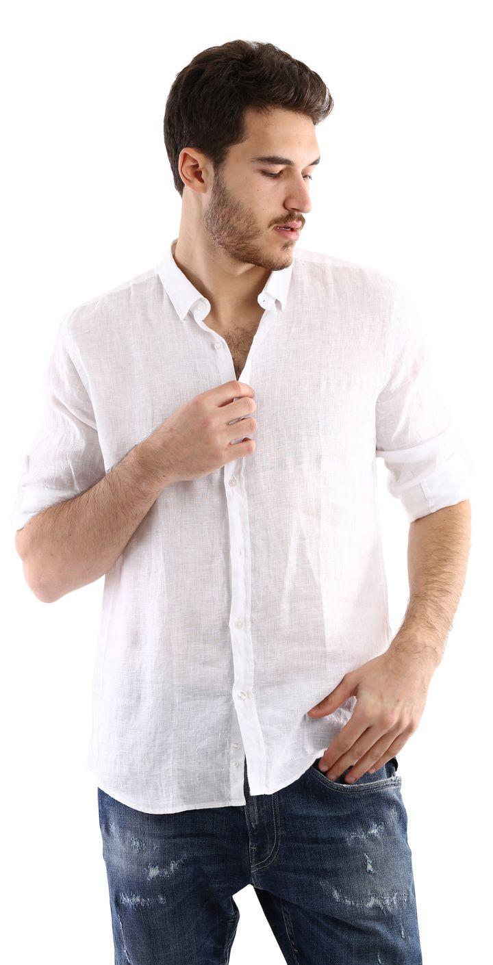 חולצה מכופתרת פשתן גברים
