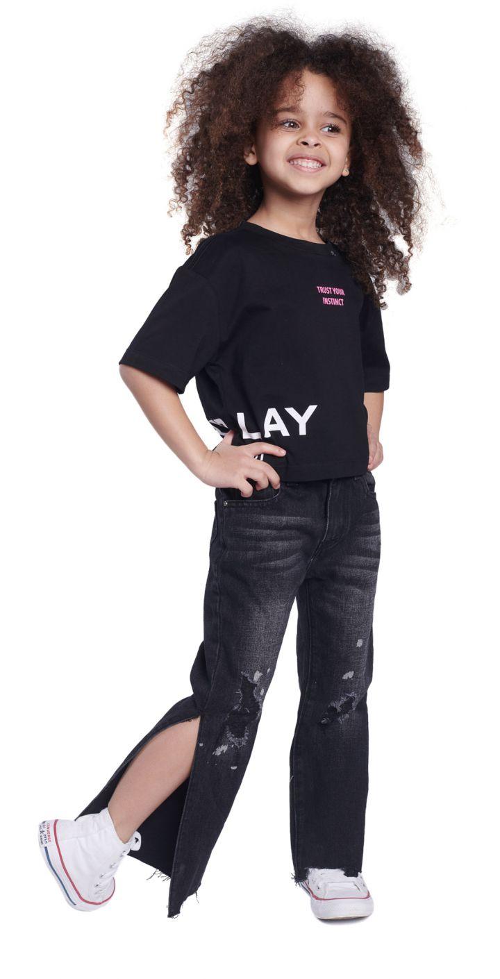 חולצה טי שירט קצר לייקרה לוגו ילדים