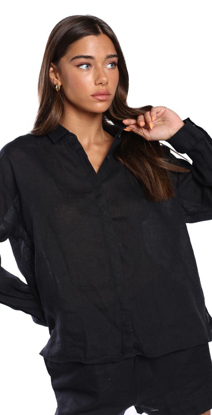 חולצה מכופתרת פשתן נשים