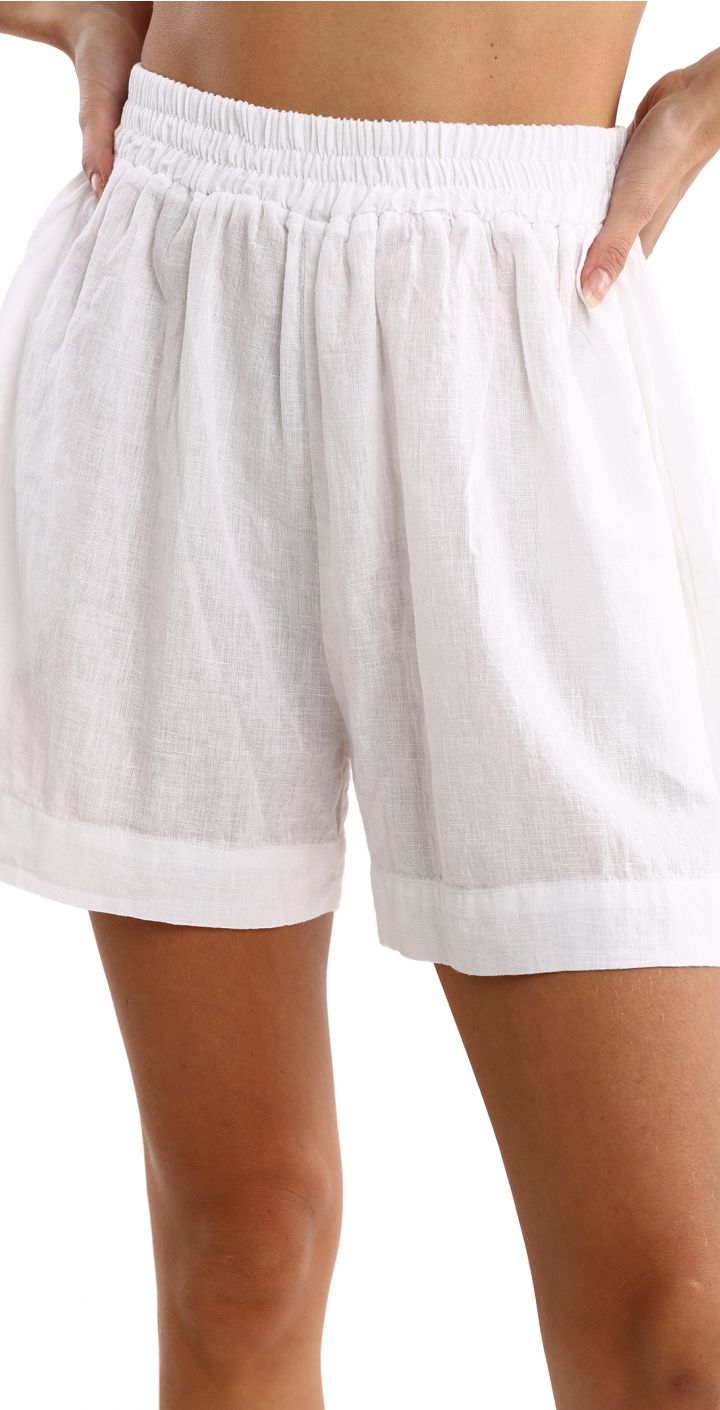 מכנסי פשתן קצרים נשים