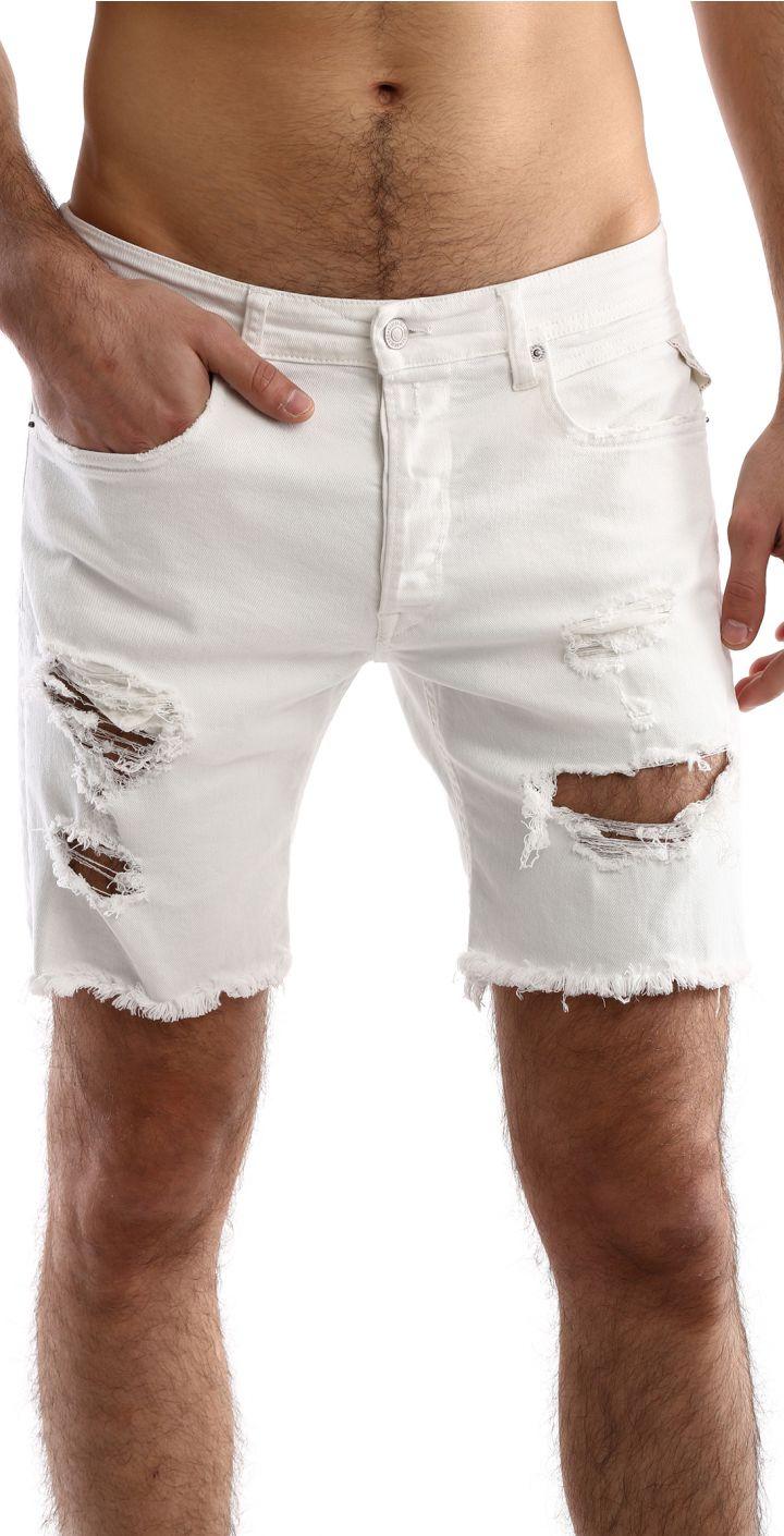 ג'ינס ברמודה עם קרעים גברים