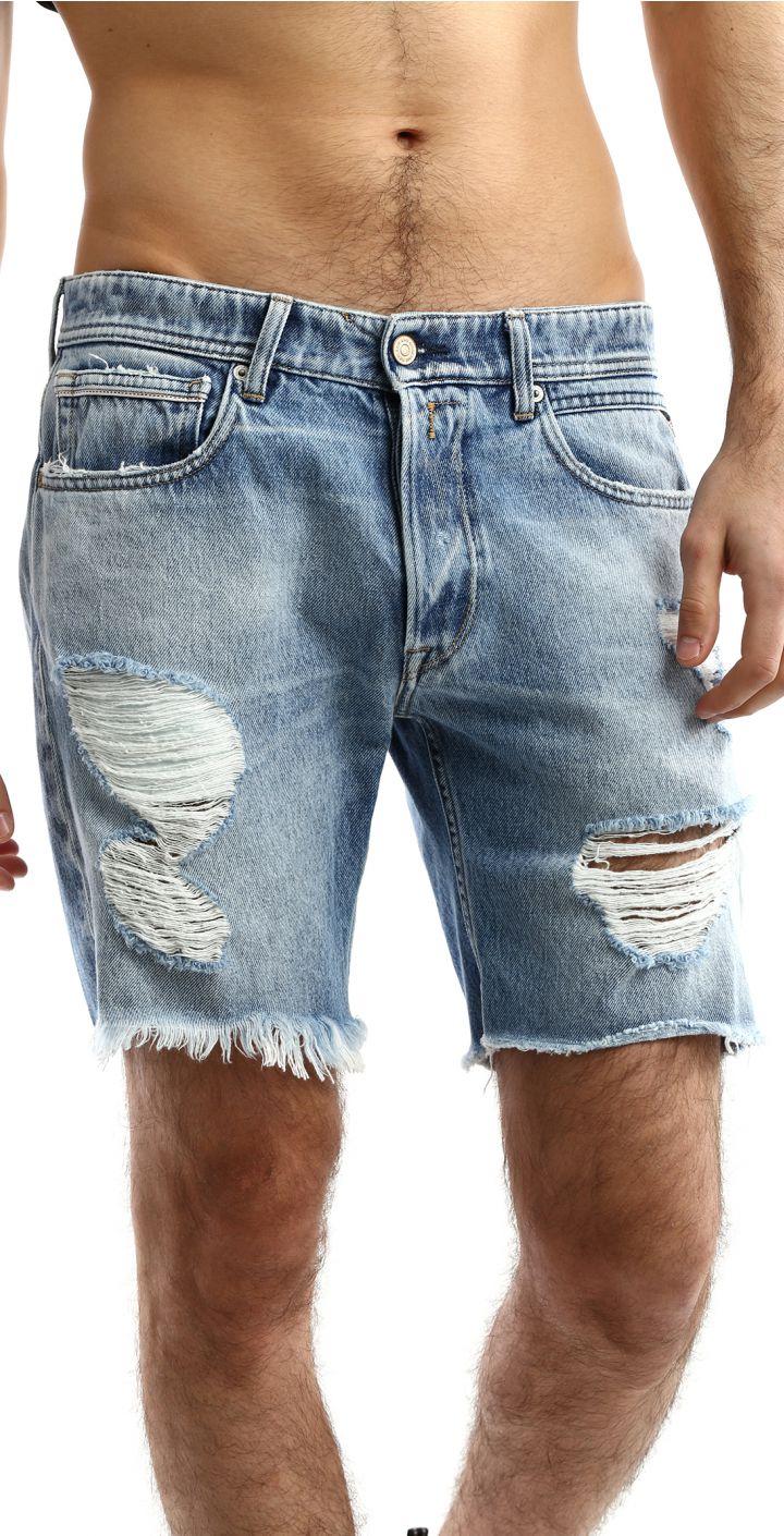 ג'ינס ברמודה עם שפשוף וקרעים גברים