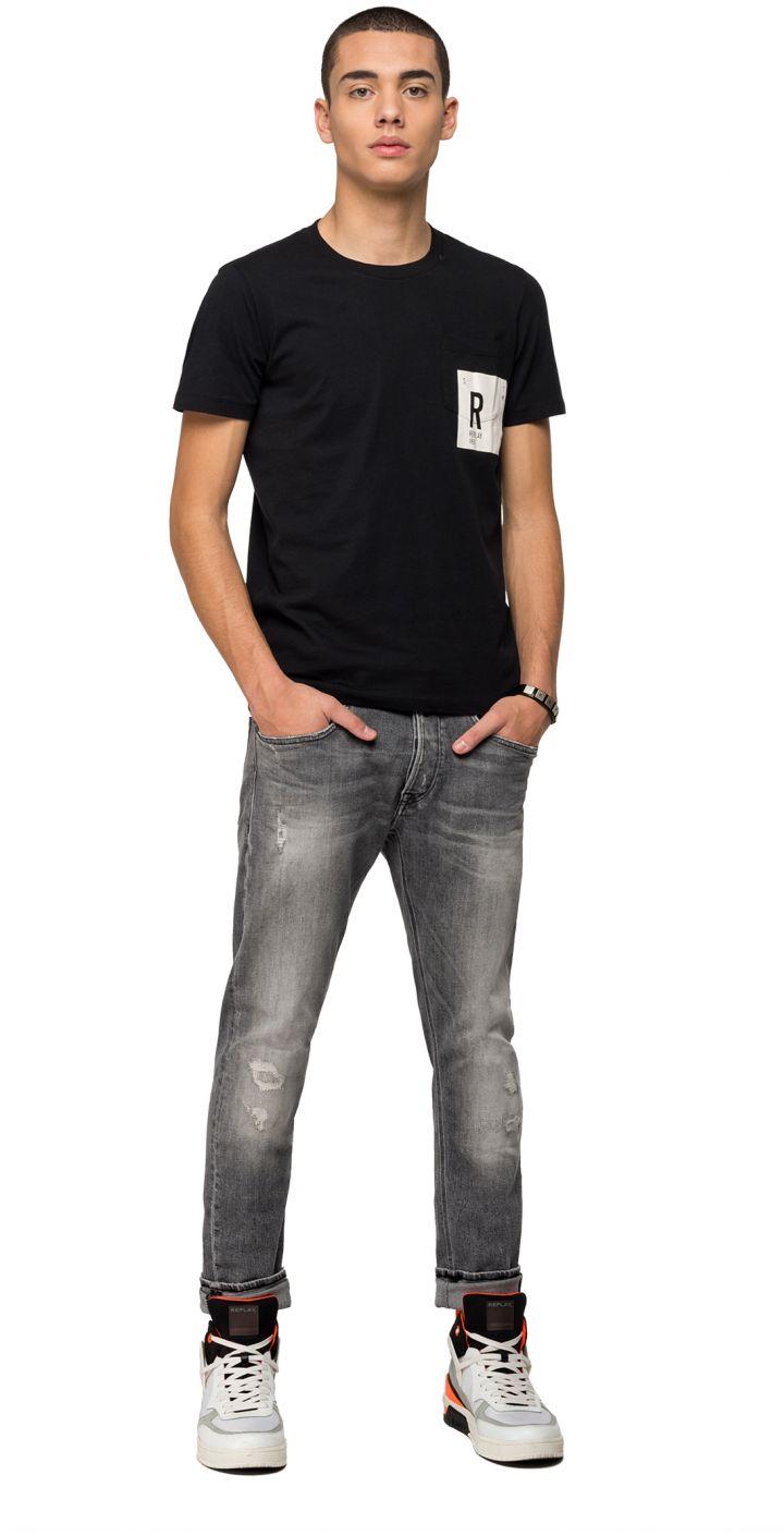 טי שירט קצר כותנה לוגו בכיס גברים