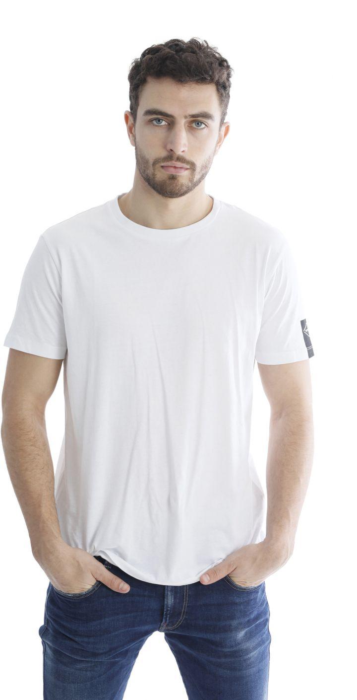 טי שירט כותנה קצר קצרה לוגו בשרוול גברים