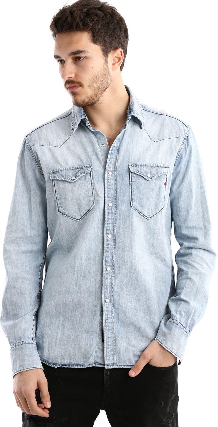 חולצה ג'ינס מכופתרת גברים