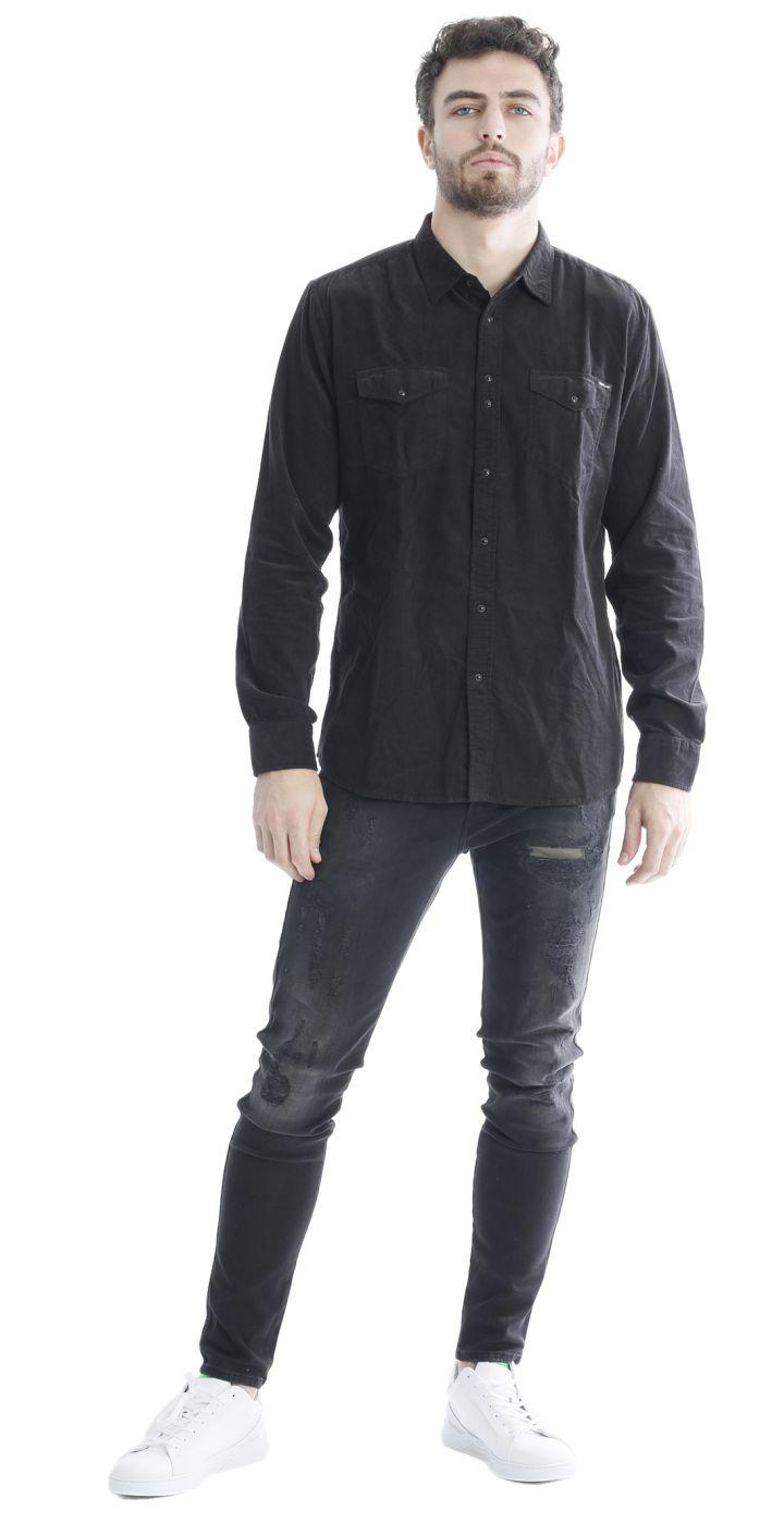 חולצה מכופתרת קורדרוי לוגו קטן בכיס גברים