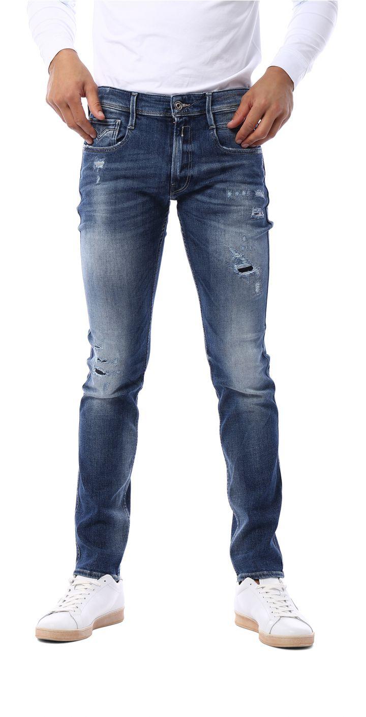 ג'ינס ANBASS עם קרעים בגזרת SLIM גברים