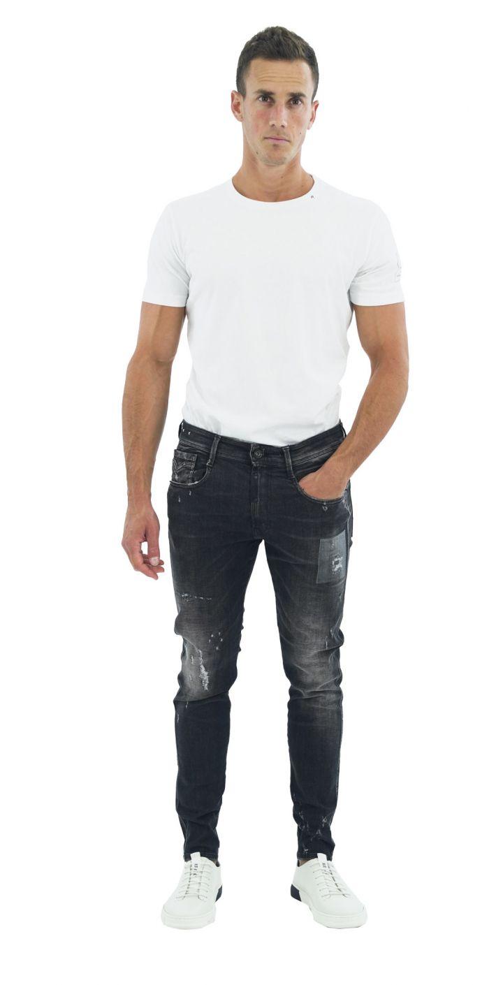 ג'ינס BRONNY SUPER SLIM קרעים עם עורית ברוכסן גברים