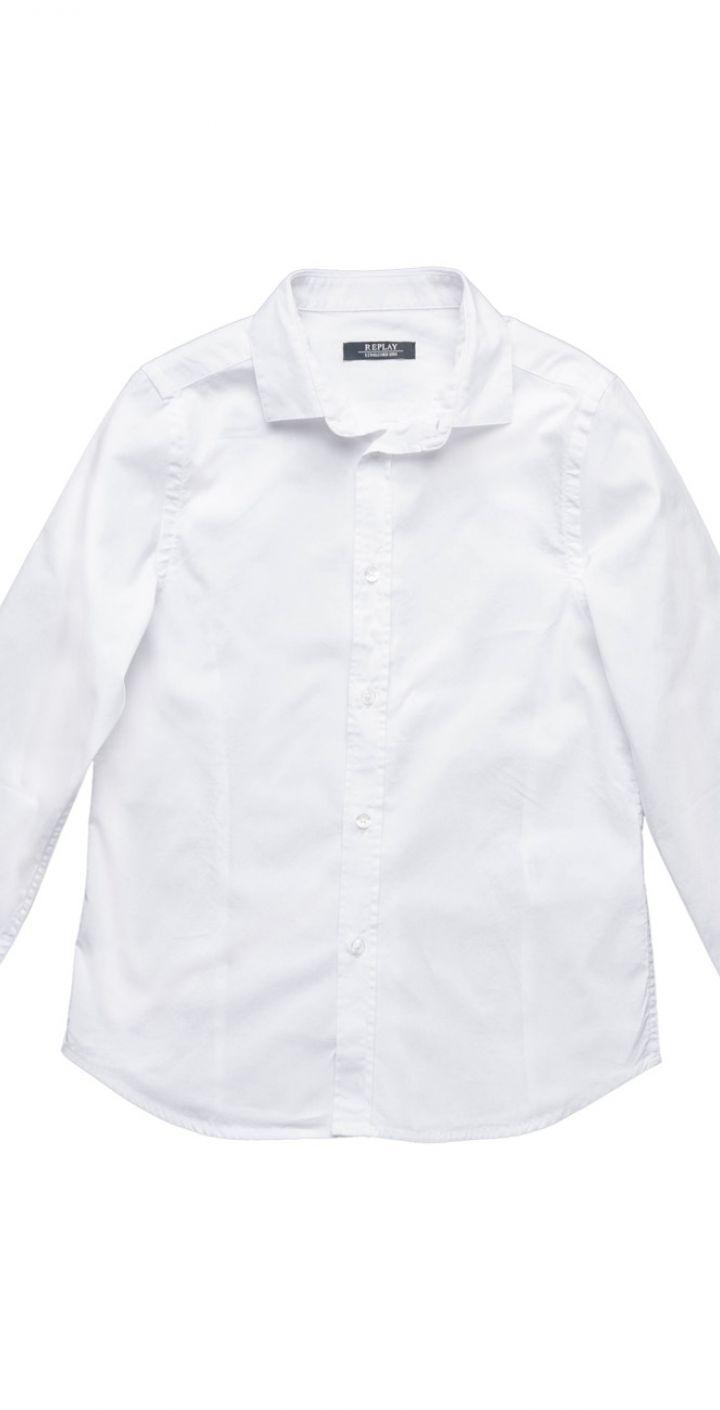 חולצה מכופתרת ילד בצבע לבן ילדים