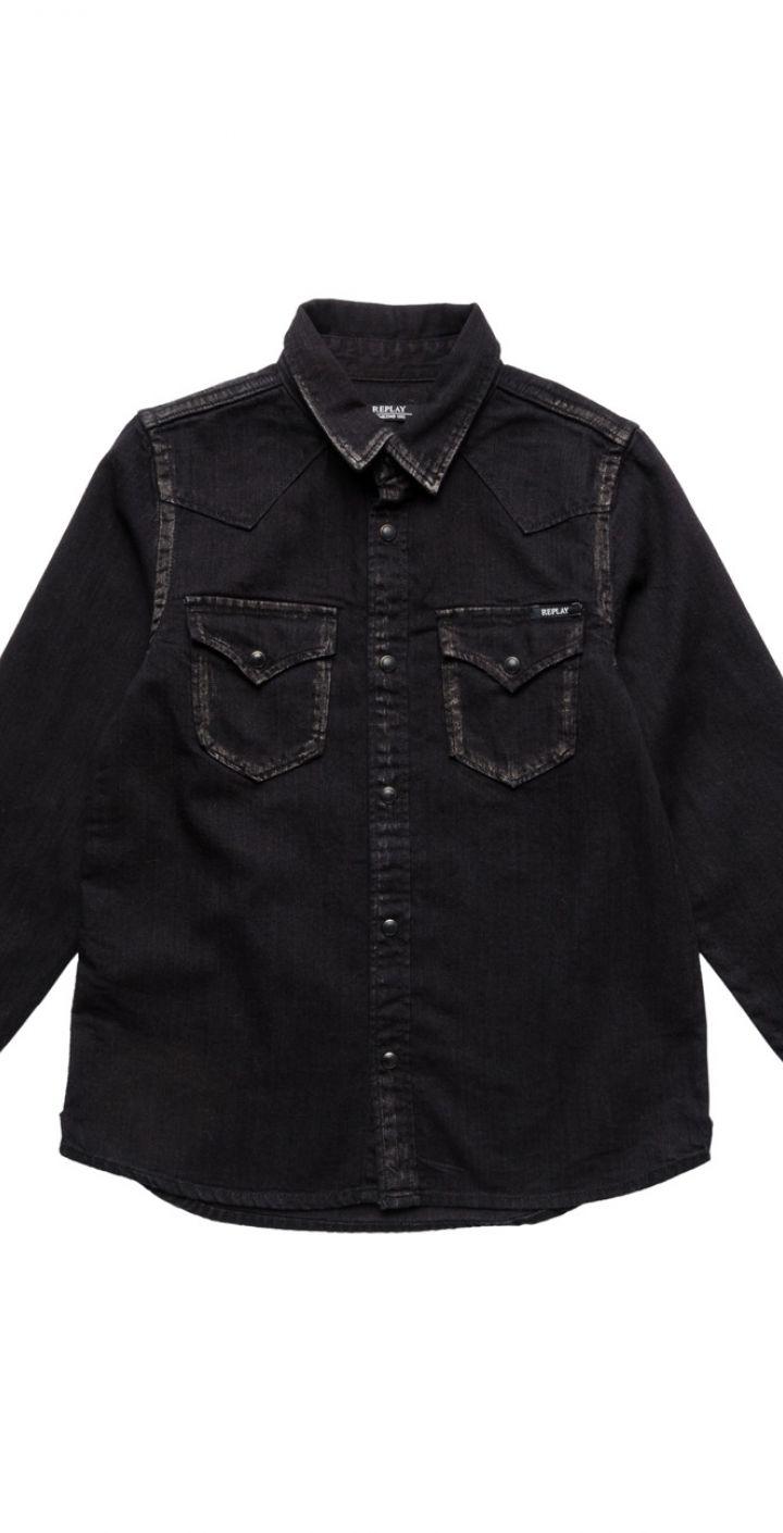 חולצה מכופתרת ילד בצבע שחור ילדים