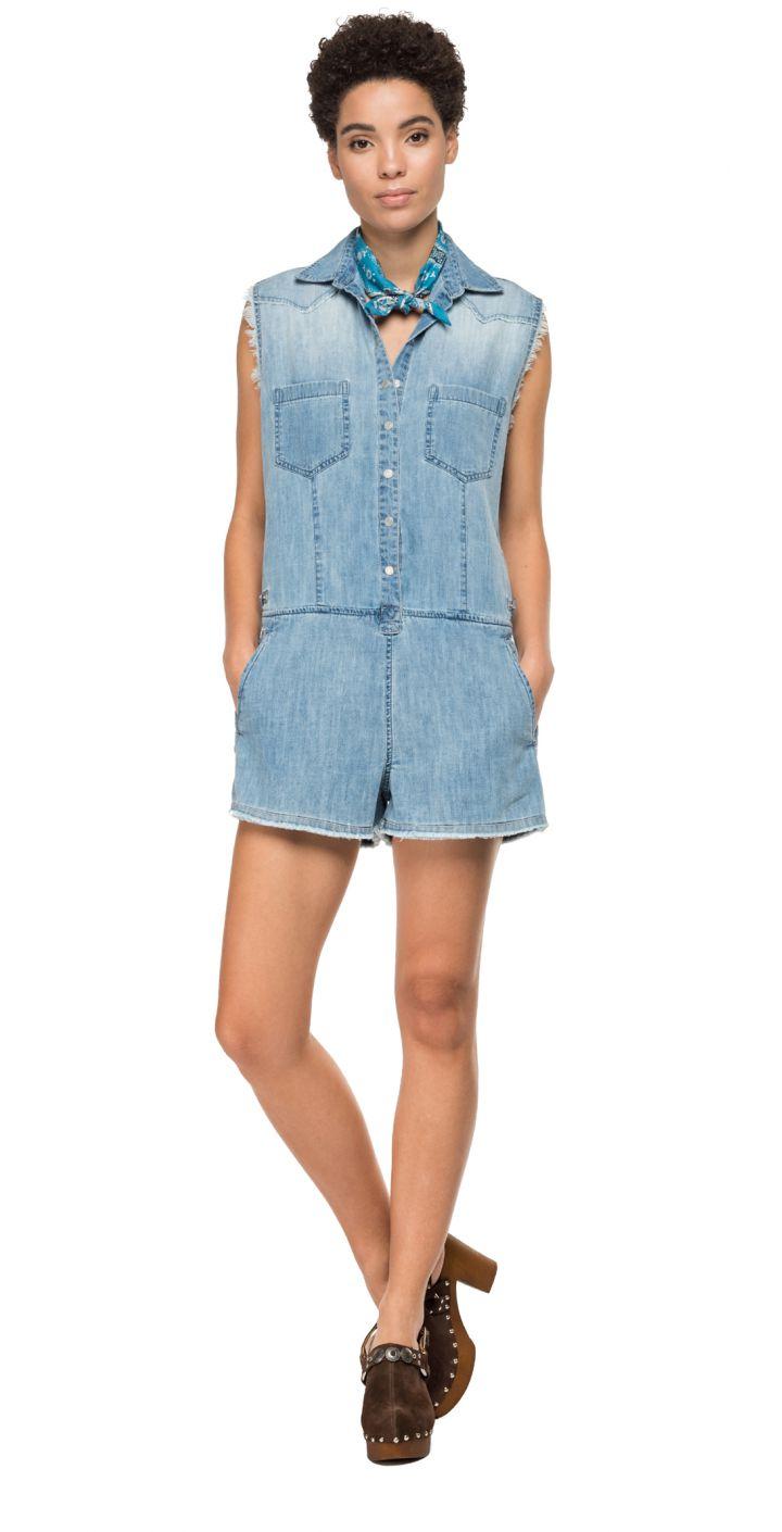 אוברול ג'ינס עם כיסים נשים