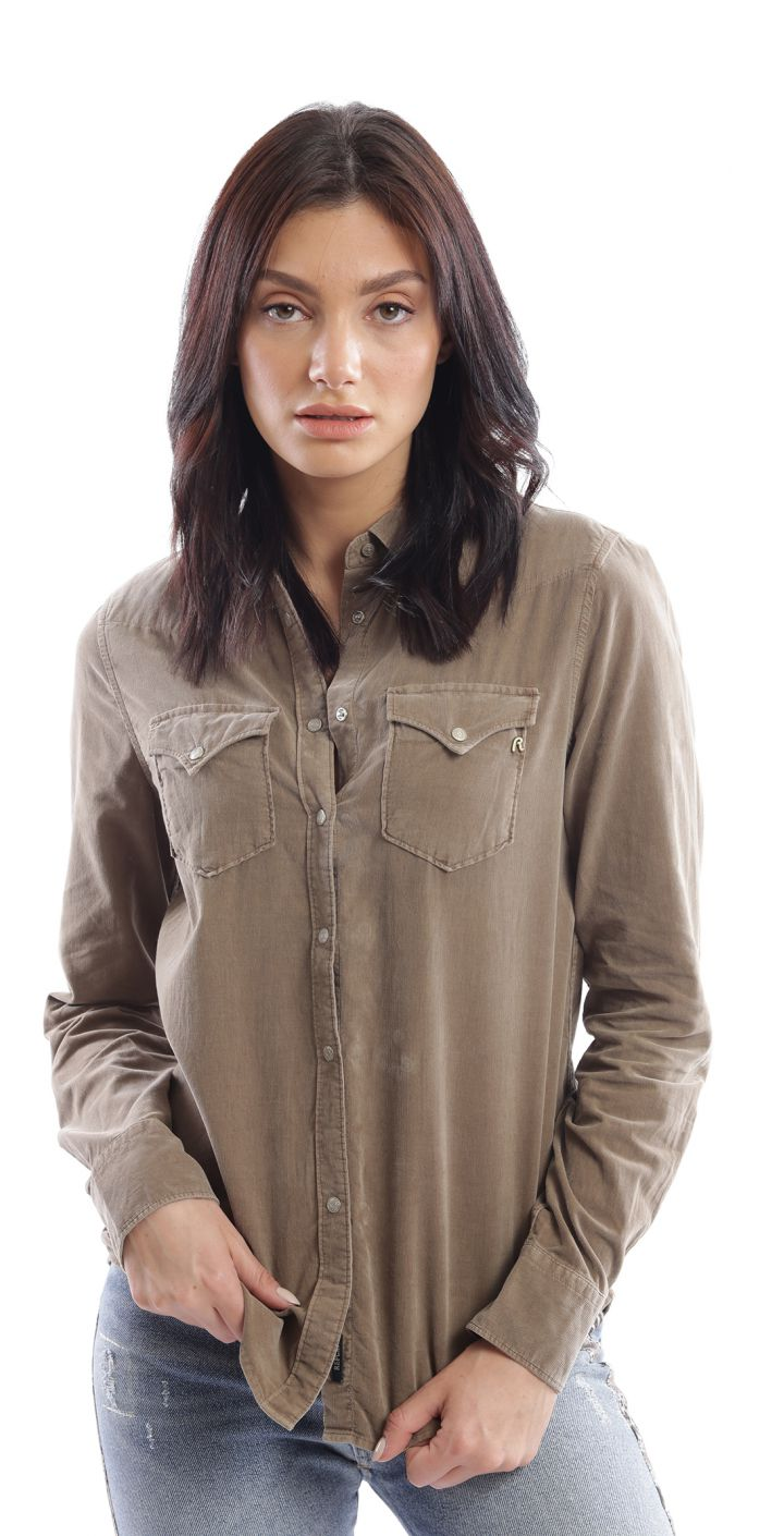 חולצה מכופתרת לוגו בפס כפתורים נשים