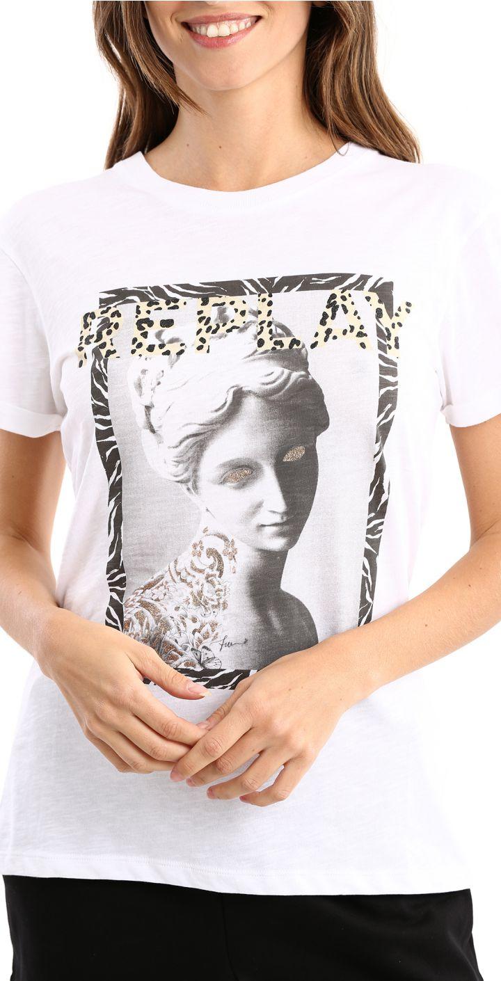 טי שירט כותנה קצר לוגו גדול מנומר הדפס תמונה נשים