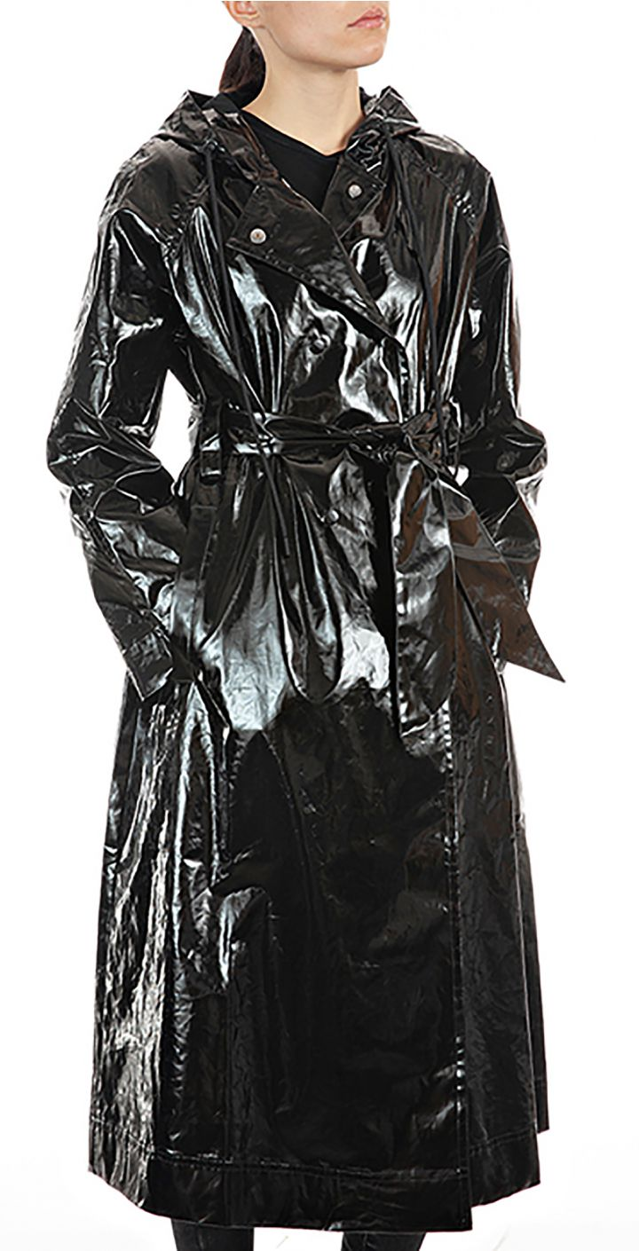 מעיל גשם מבריק ארוך עם חגורה נשים