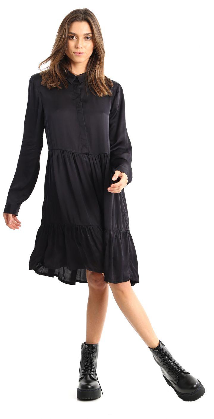 שמלה מכופתרת בד נשפך נשים