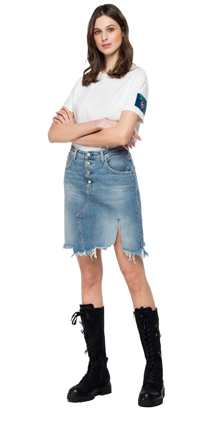חצאית ג'ינס שפשוף עדין נשים