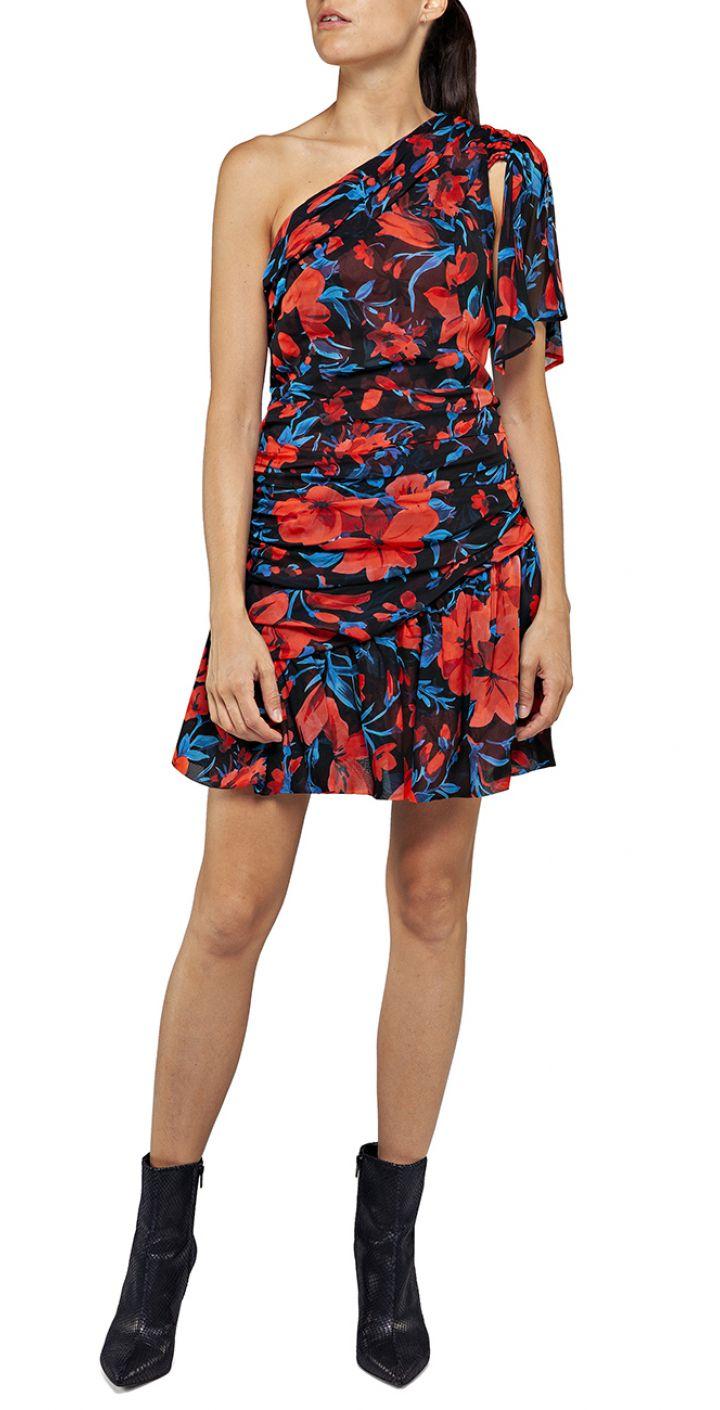 שמלה מיני כתף אחת בהדפס פרחים נשים