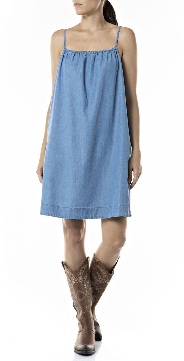 שמלת מיני ג'ינס כתפיות דקות נשים