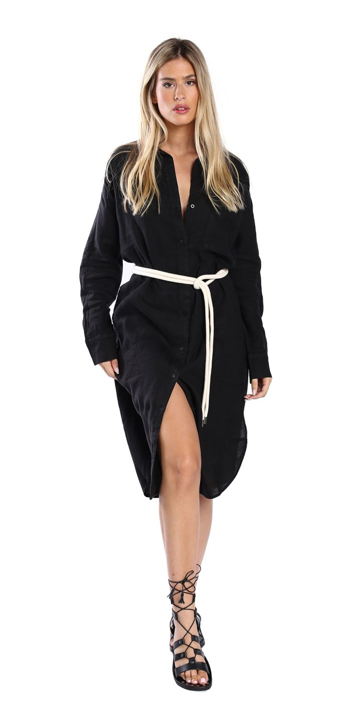 שמלה עם חגורת קשירה נשים