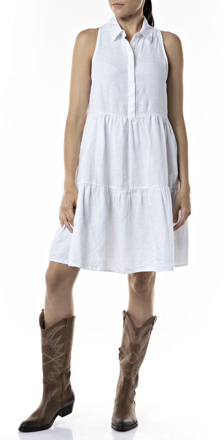 שמלת פשתן צווארון נשים