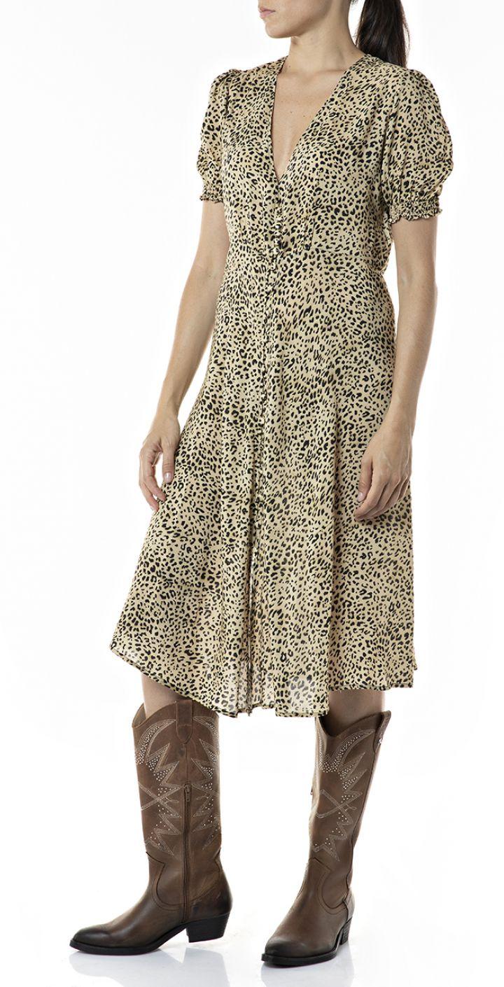 שמלת מידי בהדפס מנומר נשים