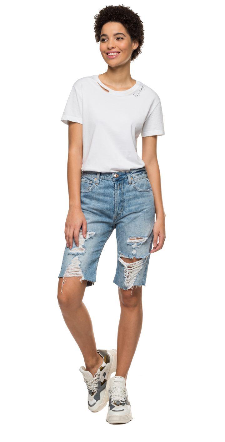 ג'ינס ברמודה קרעים נשים