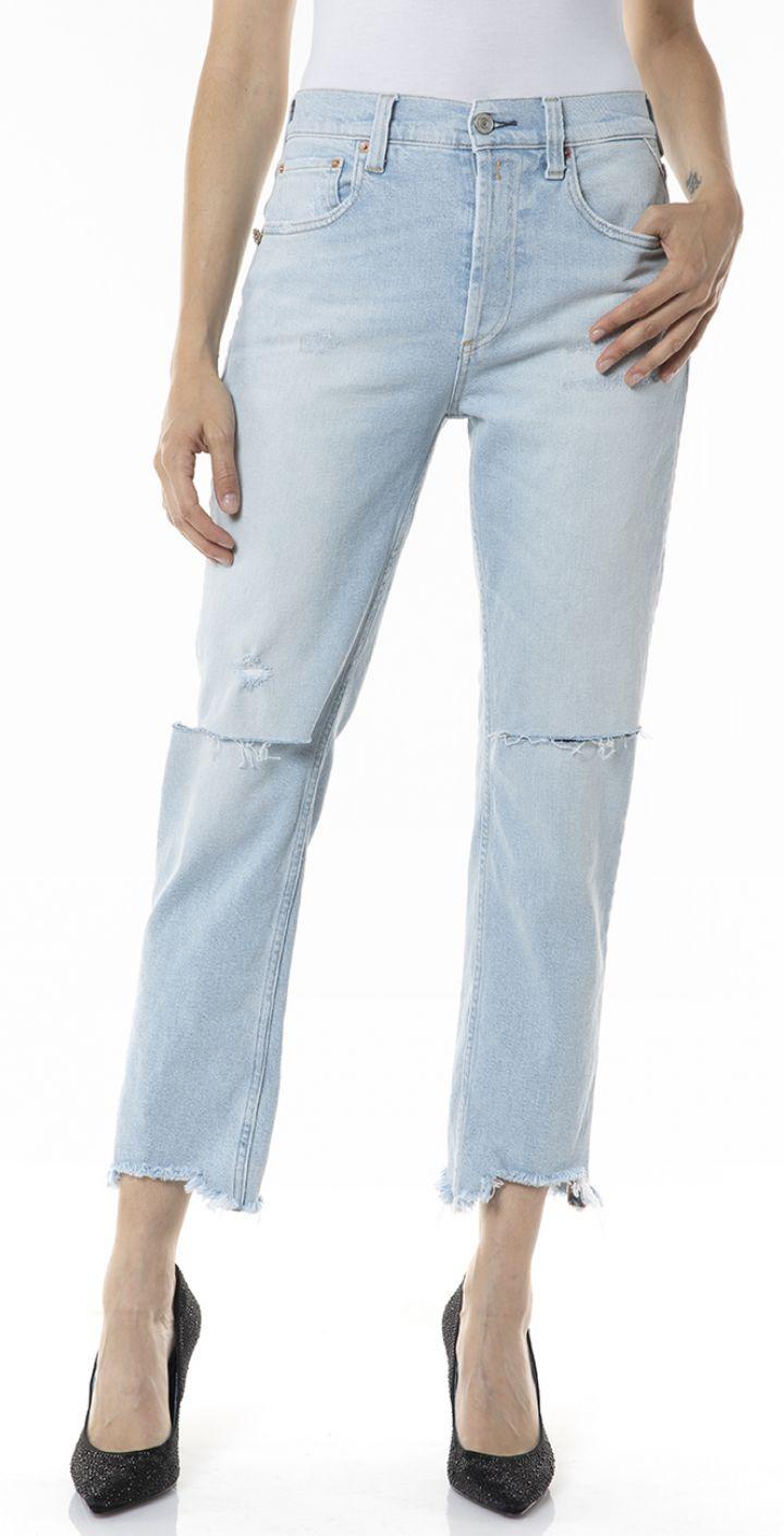 ג'ינס MAIJKE High Waist עם קרעים בברך נשים