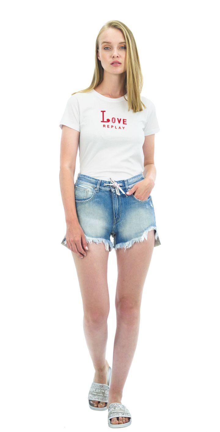 שורט ג'ינס עם שרוך נשים